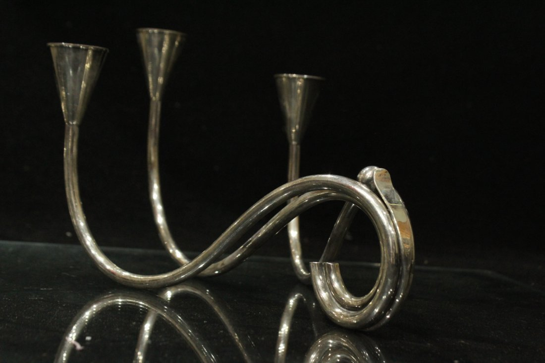 Mid-Century Modern Danish Silver Plate Candle Sticks - 2