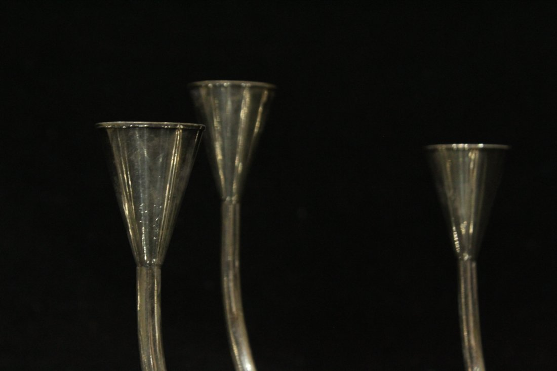Mid-Century Modern Danish Silver Plate Candle Sticks - 4