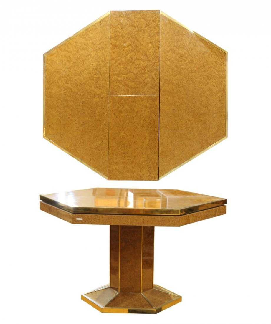 MILO BAUGHMAN Burl Wood Octagon Dining Table with Leaf