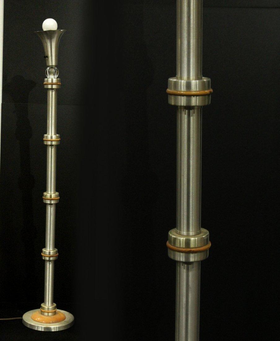Mid-century brushed aluminum floor lamp