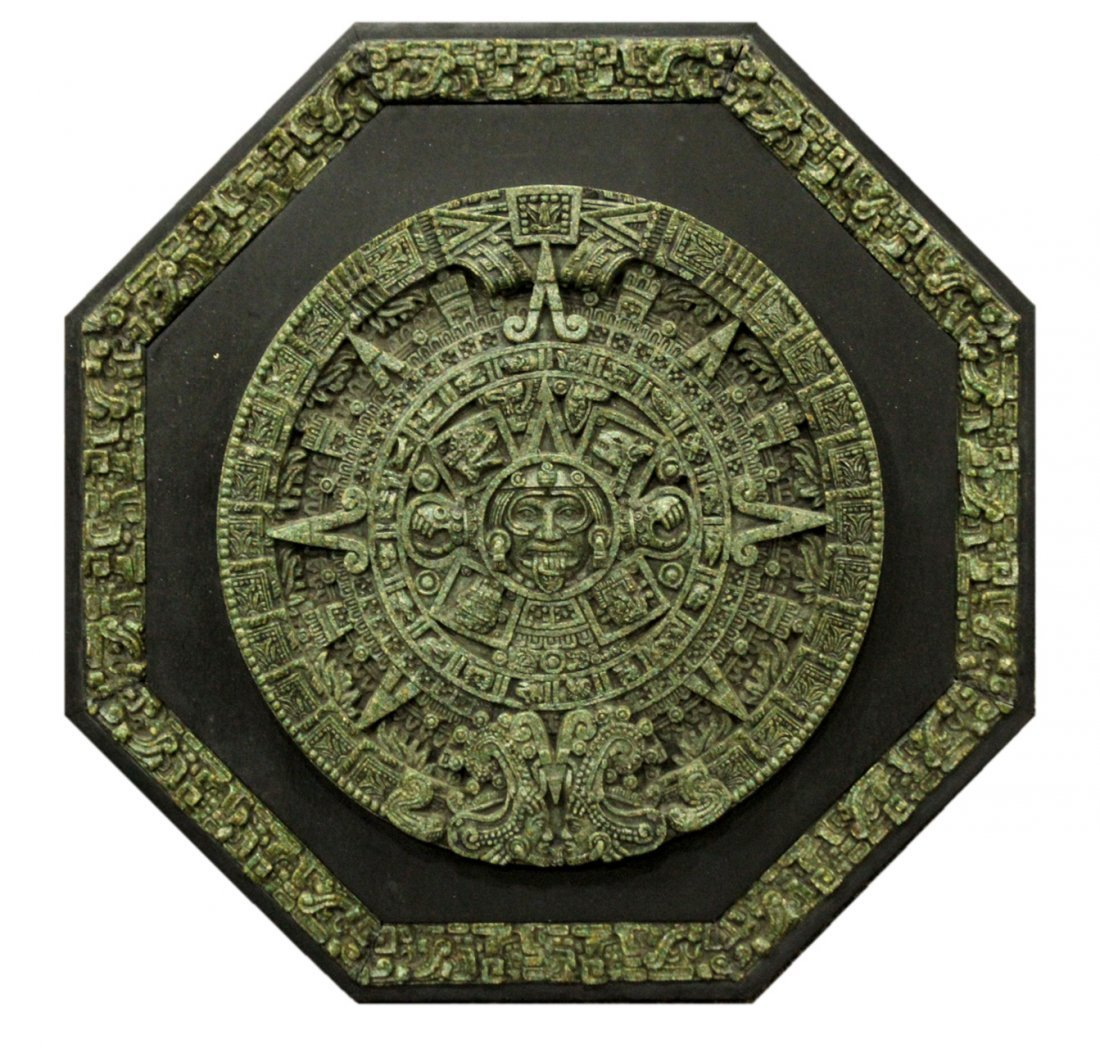 20th C. Cast MAYAN CALENDAR PLAQUE