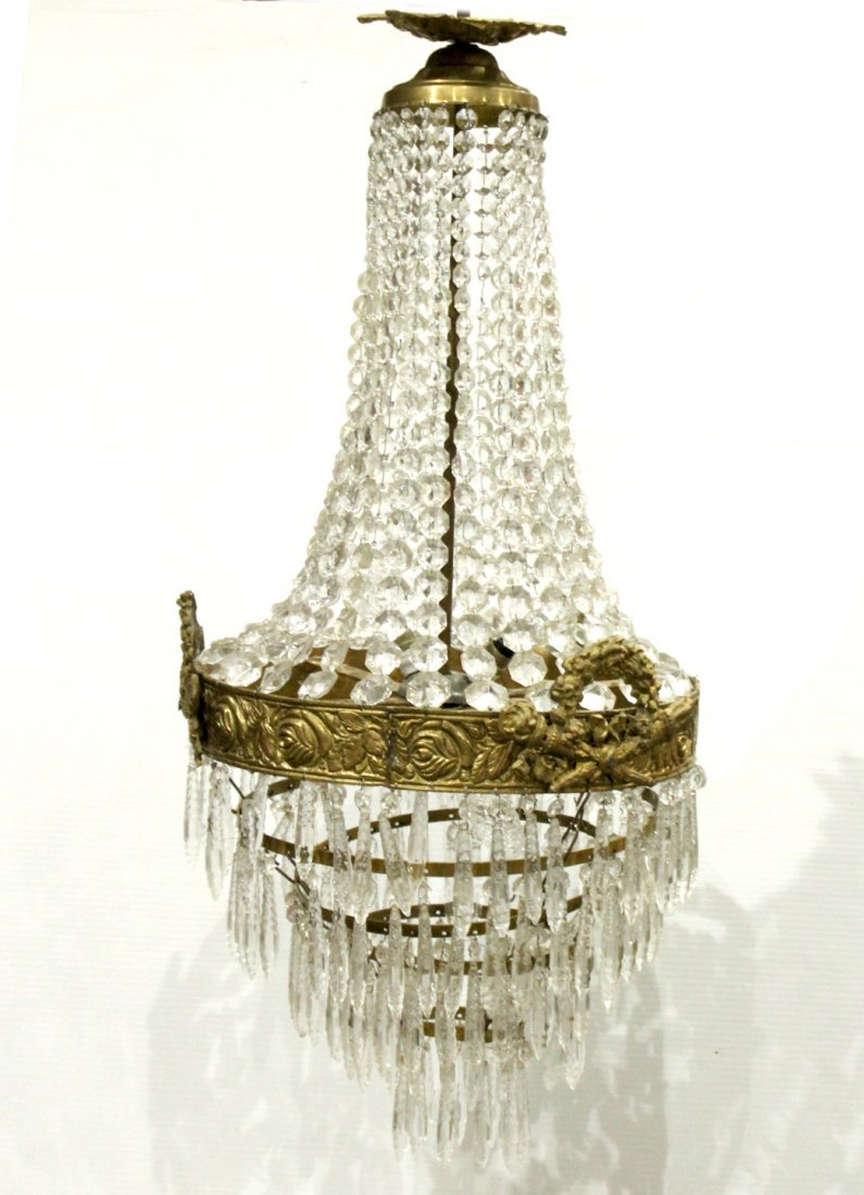 Circa 1920s TEAR DROP CHANDELIER TIERED GLASS PRISMS