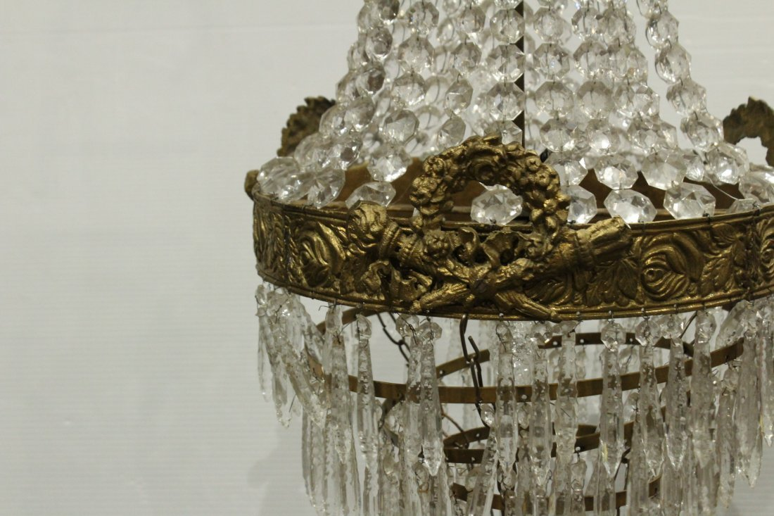 Circa 1920s TEAR DROP CHANDELIER TIERED GLASS PRISMS - 2