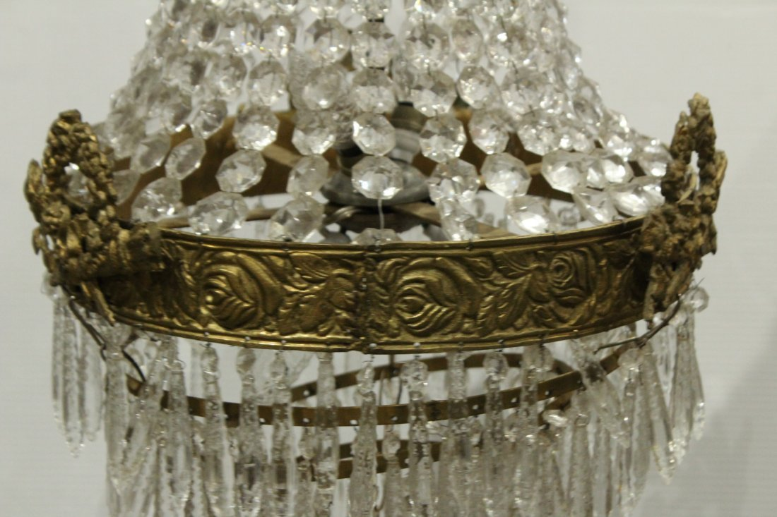 Circa 1920s TEAR DROP CHANDELIER TIERED GLASS PRISMS - 3