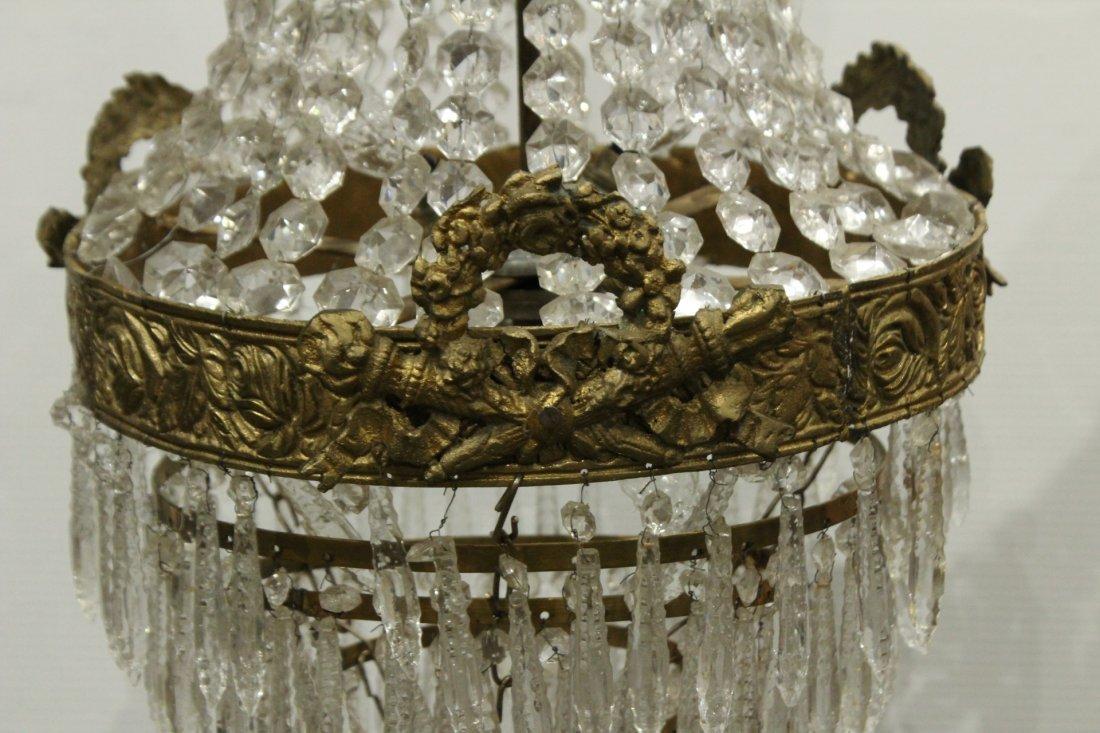 Circa 1920s TEAR DROP CHANDELIER TIERED GLASS PRISMS - 4