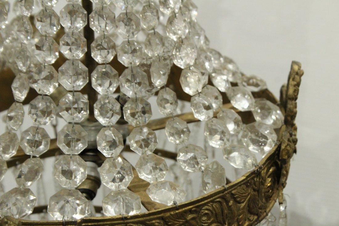 Circa 1920s TEAR DROP CHANDELIER TIERED GLASS PRISMS - 5