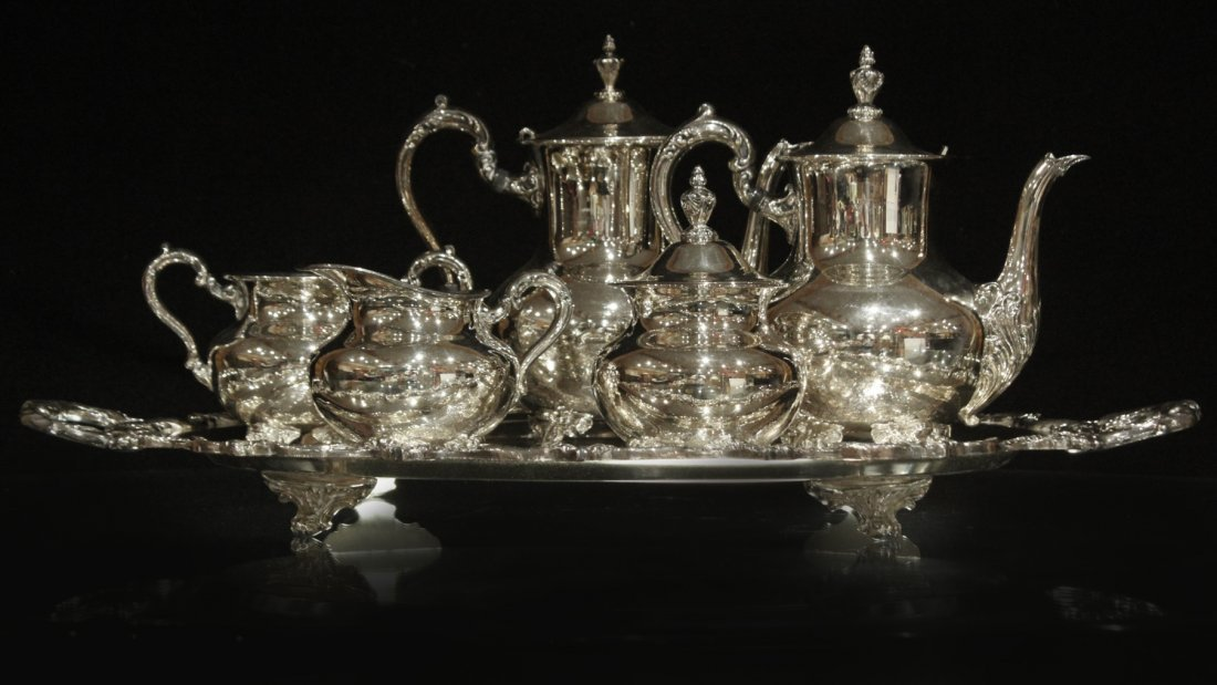 Six [6] Piece POOLE - OLD ENGLISH SILVER PLATE TEA SET