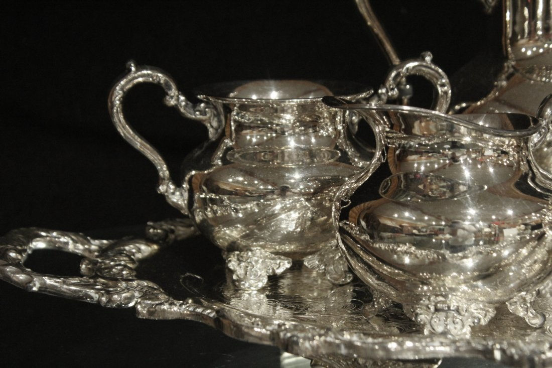 Six [6] Piece POOLE - OLD ENGLISH SILVER PLATE TEA SET - 2