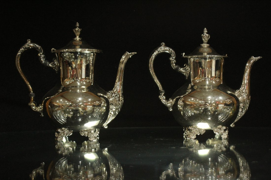 Six [6] Piece POOLE - OLD ENGLISH SILVER PLATE TEA SET - 8