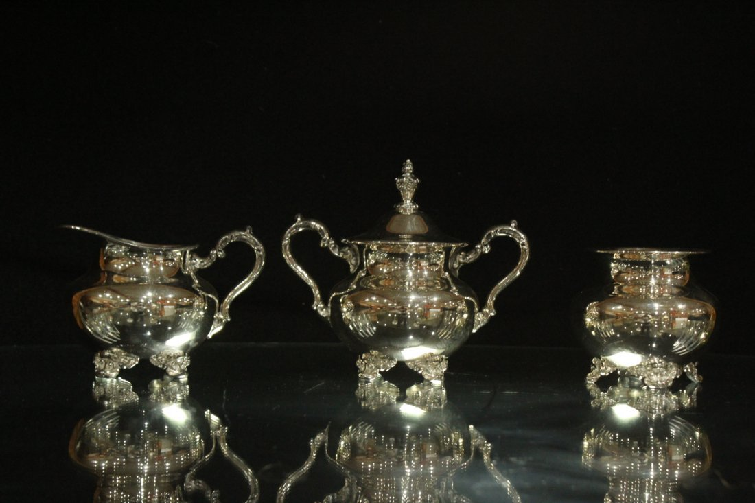 Six [6] Piece POOLE - OLD ENGLISH SILVER PLATE TEA SET - 9