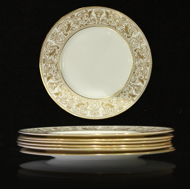 Six [6] WEDGWOOD GOLD FLORENTINE Dinner Plates