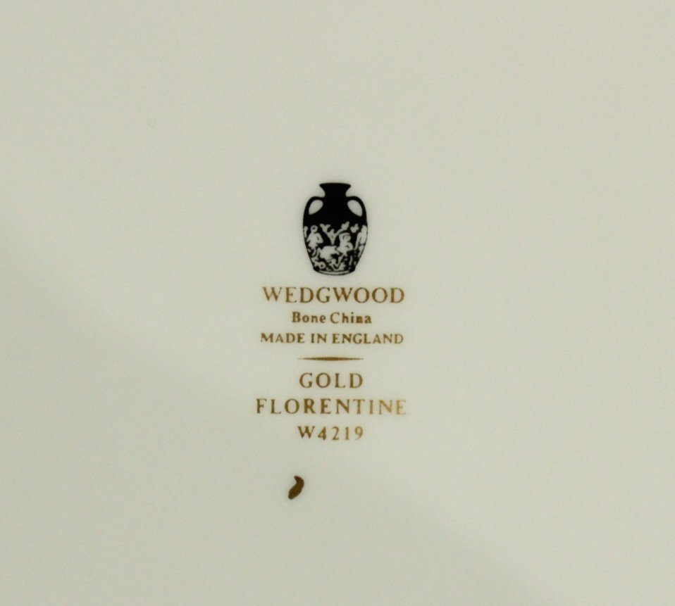 Six [6] WEDGWOOD GOLD FLORENTINE Dinner Plates - 2