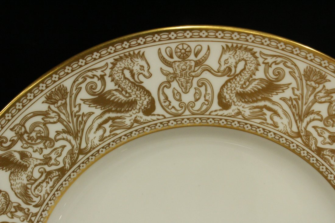Six [6] WEDGWOOD GOLD FLORENTINE Dinner Plates - 5