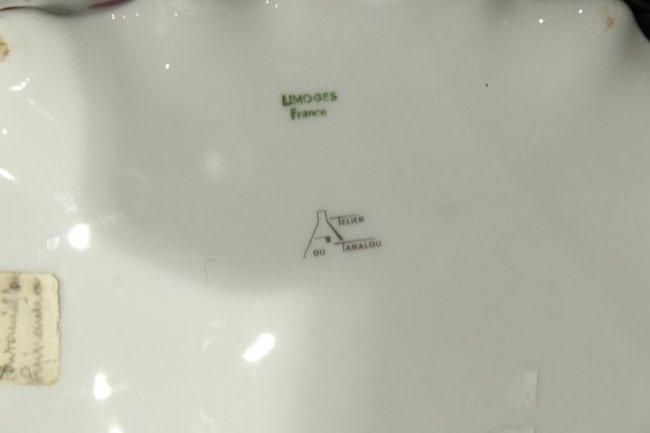 LIMOGES FRANCE Porcelain Center Bowl Floral Decoration - 5