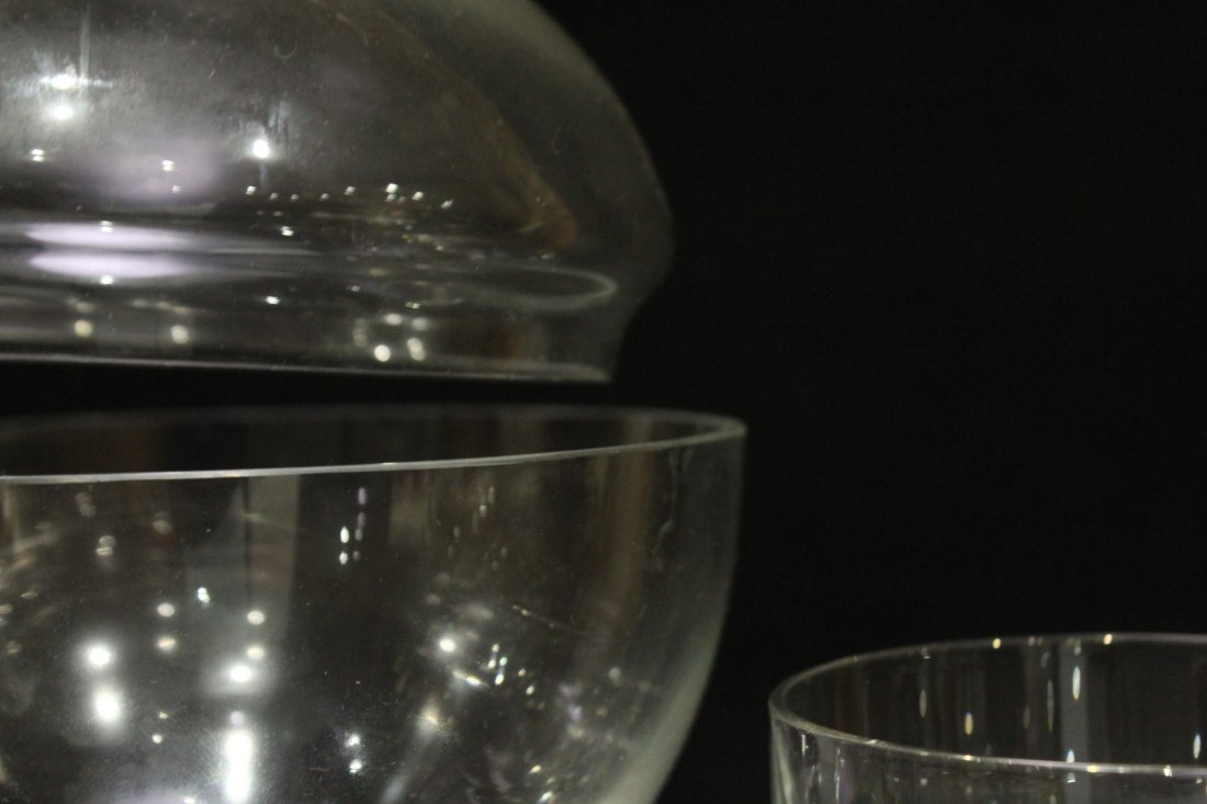SWEDISH GLASS Covered ICE BUCKET with 4 Glasses - 4
