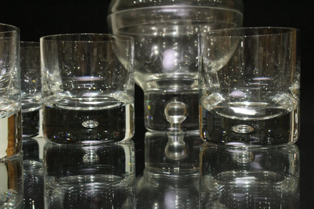 SWEDISH GLASS Covered ICE BUCKET with 4 Glasses - 5
