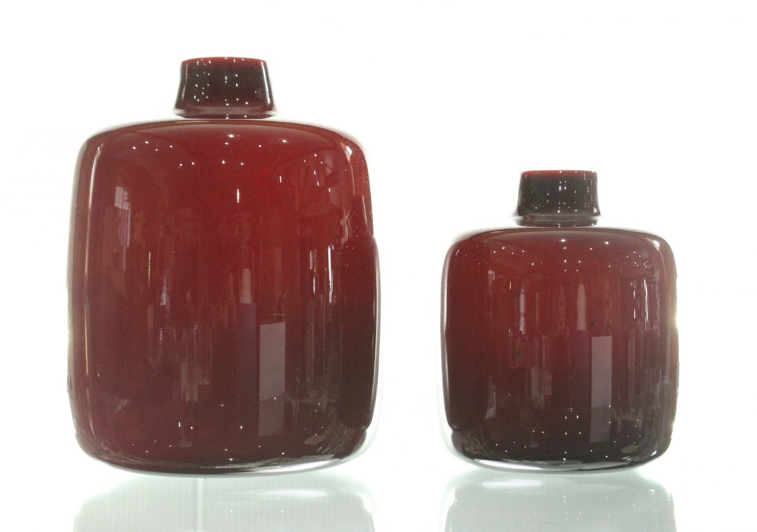 Two [2] Mid-Century Modern Pigeon Blood Glass VASES