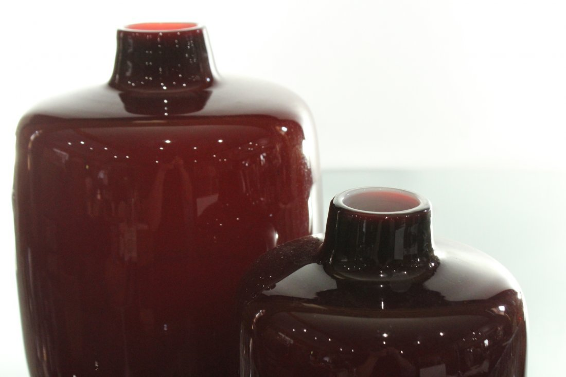 Two [2] Mid-Century Modern Pigeon Blood Glass VASES - 2