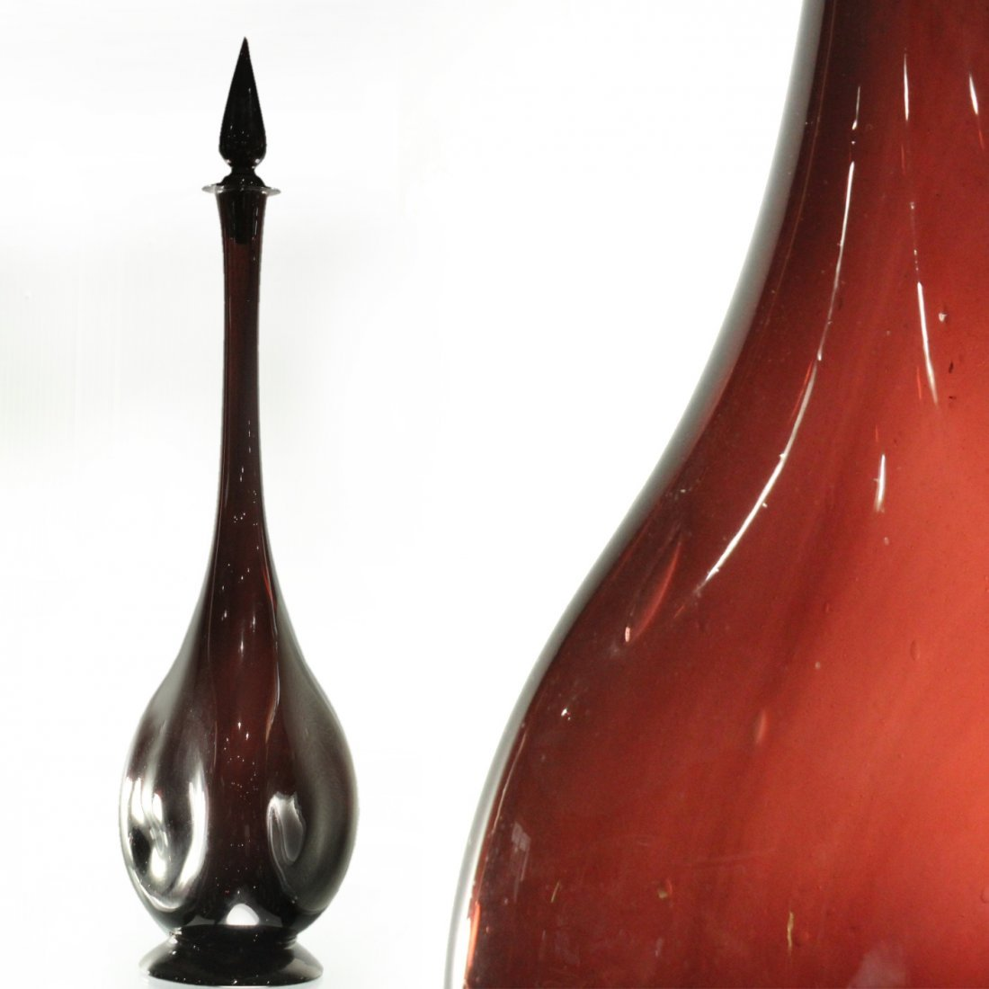 Italian Glass TALL DECANTER WITH STOPPER Deep Cranberry