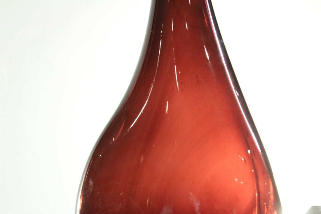 Italian Glass TALL DECANTER WITH STOPPER Deep Cranberry - 2