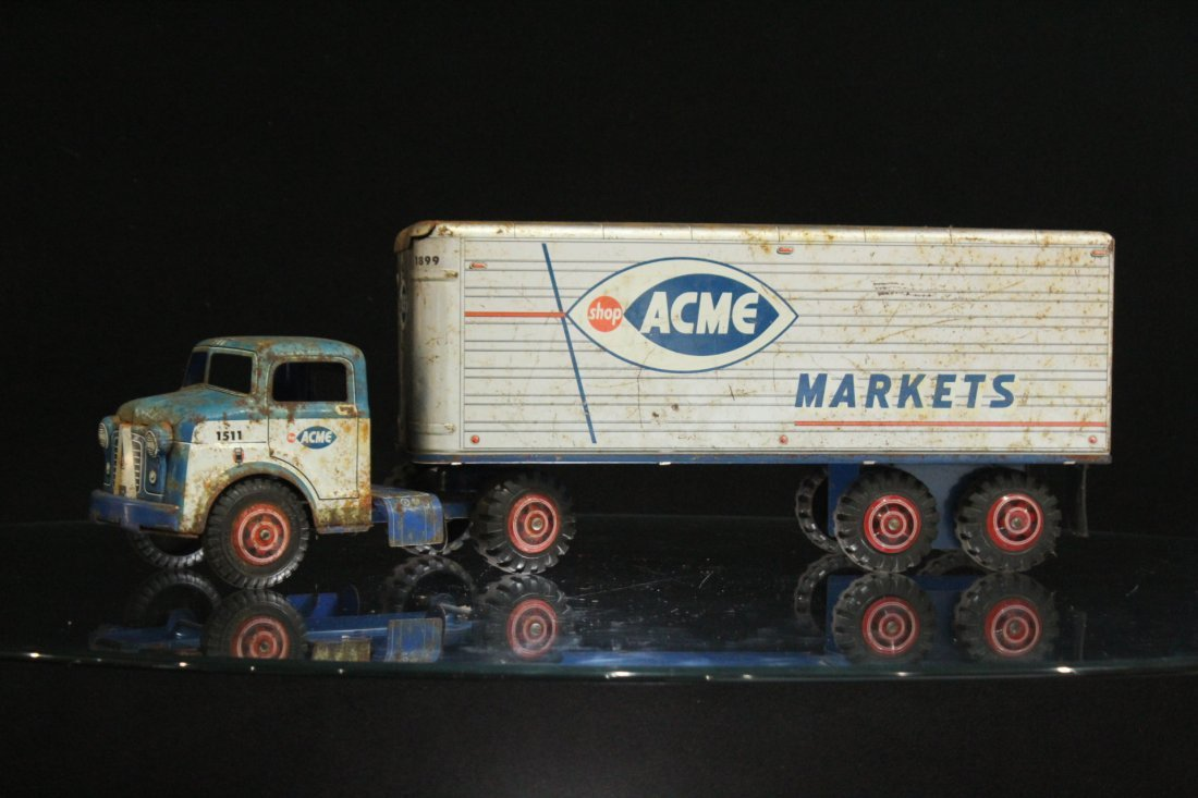 ACME MARKETS Vintage TIN TOY TRACTOR TRAILER TRUCK