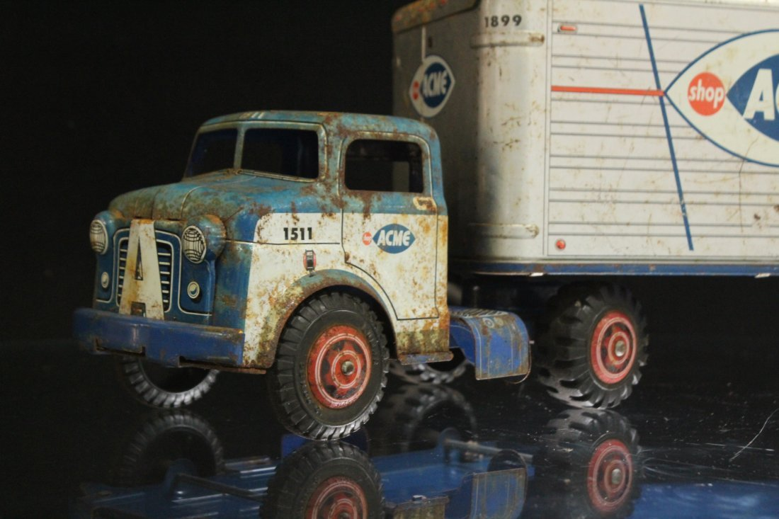 ACME MARKETS Vintage TIN TOY TRACTOR TRAILER TRUCK - 2