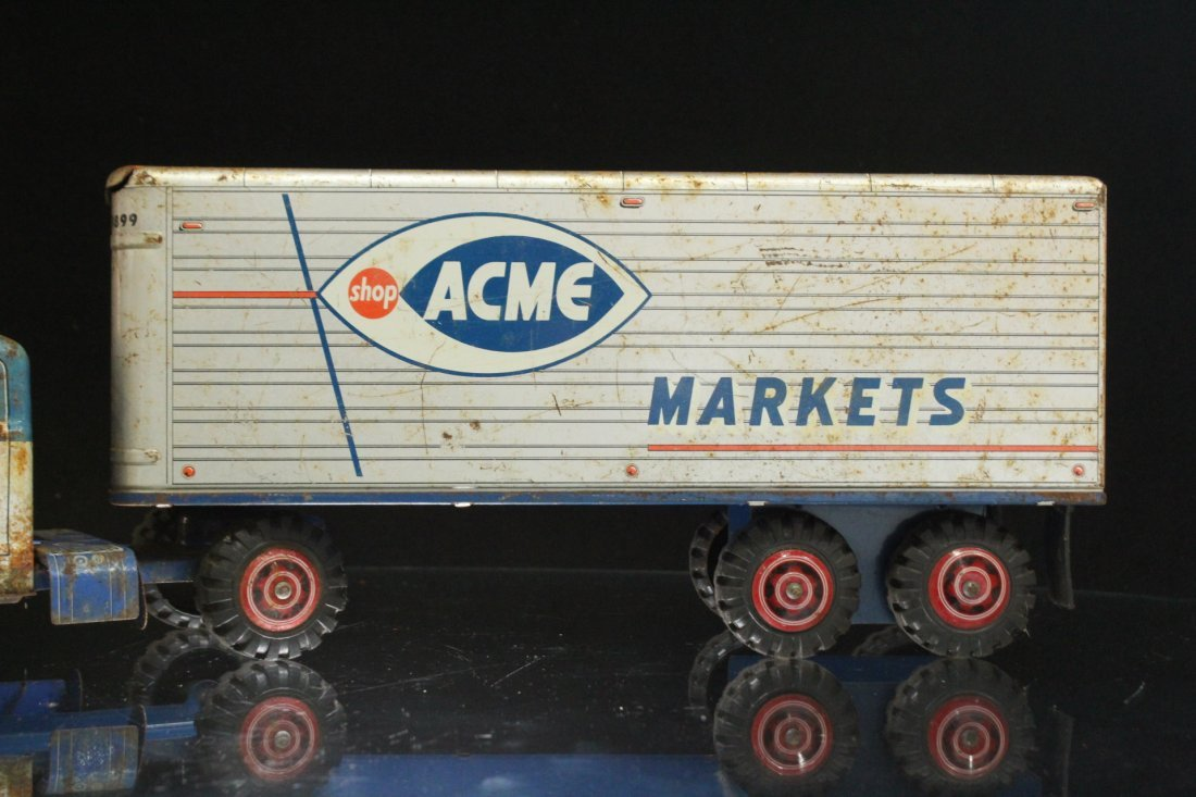 ACME MARKETS Vintage TIN TOY TRACTOR TRAILER TRUCK - 3