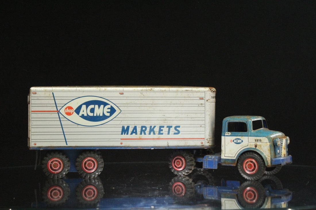 ACME MARKETS Vintage TIN TOY TRACTOR TRAILER TRUCK - 4