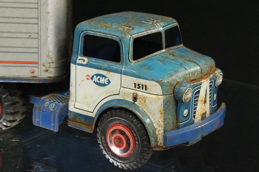 ACME MARKETS Vintage TIN TOY TRACTOR TRAILER TRUCK - 5