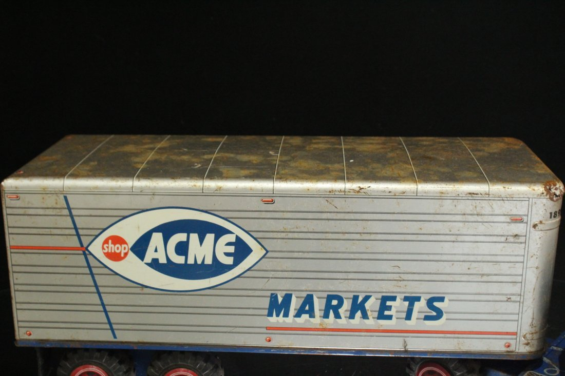 ACME MARKETS Vintage TIN TOY TRACTOR TRAILER TRUCK - 6