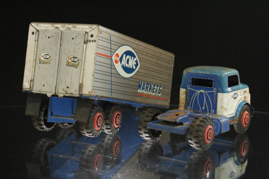 ACME MARKETS Vintage TIN TOY TRACTOR TRAILER TRUCK - 7