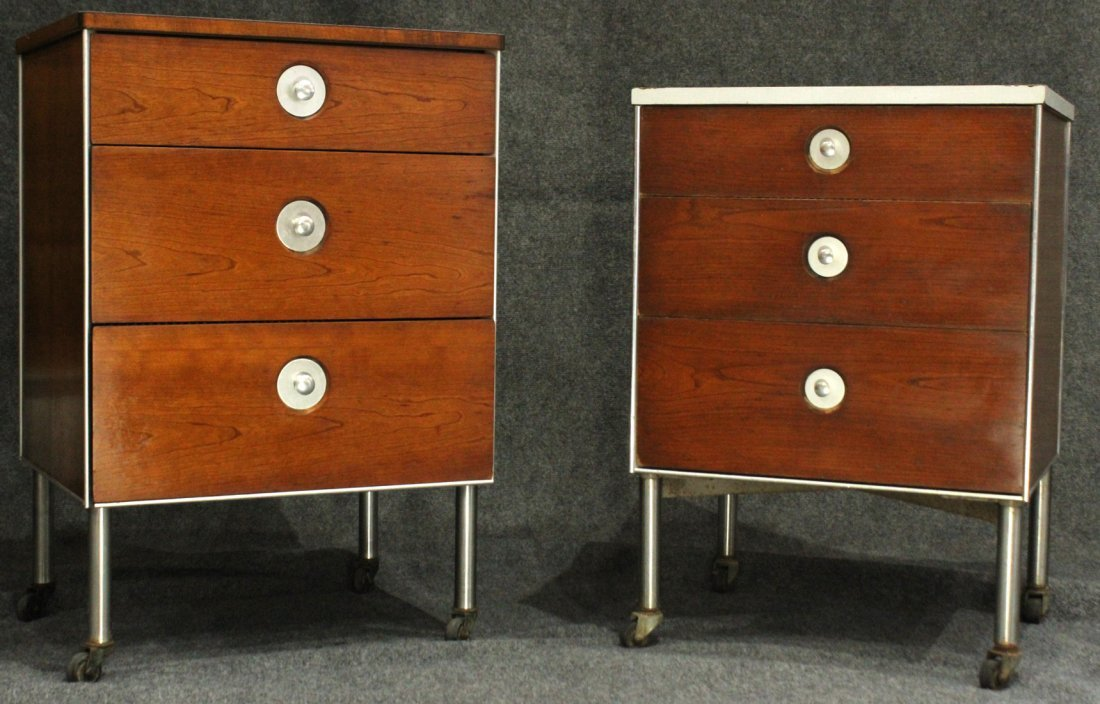 Two [2] HILL-ROM RAYMOND LOEWY INDUSTRIAL NIGHTSTANDS