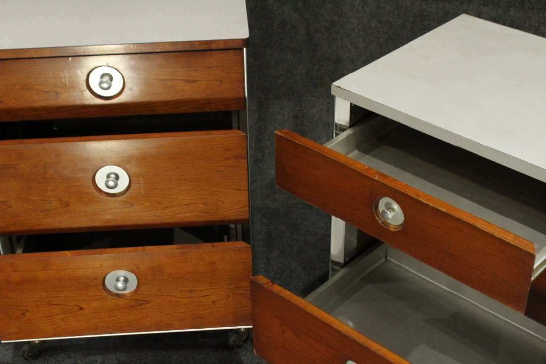 Two [2] HILL-ROM RAYMOND LOEWY INDUSTRIAL NIGHTSTANDS - 5