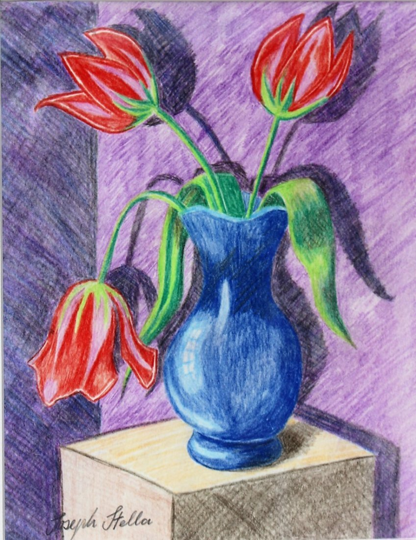 JOSEPH STELLA Colored Pencil Drawing RED TULIPS IN VASE