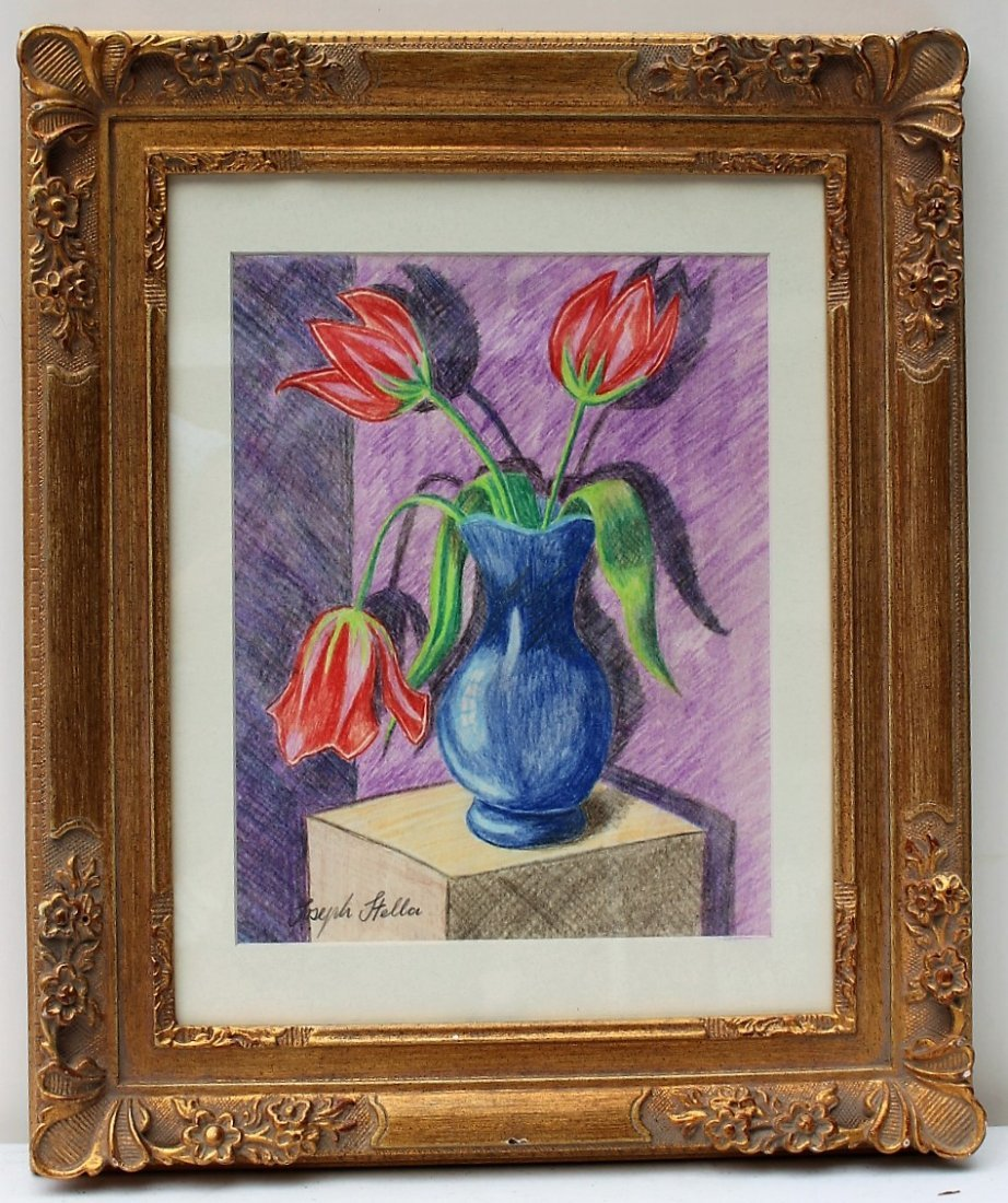 JOSEPH STELLA Colored Pencil Drawing RED TULIPS IN VASE - 2