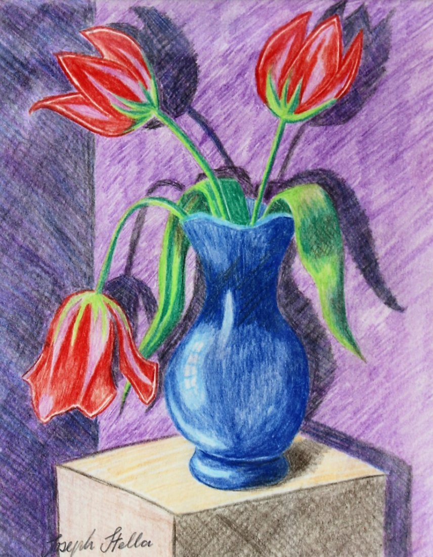 JOSEPH STELLA Colored Pencil Drawing RED TULIPS IN VASE - 3