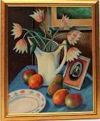 P DICKINSON, Oil/B TABLE TOP STILL LIFE Flowers Fruit