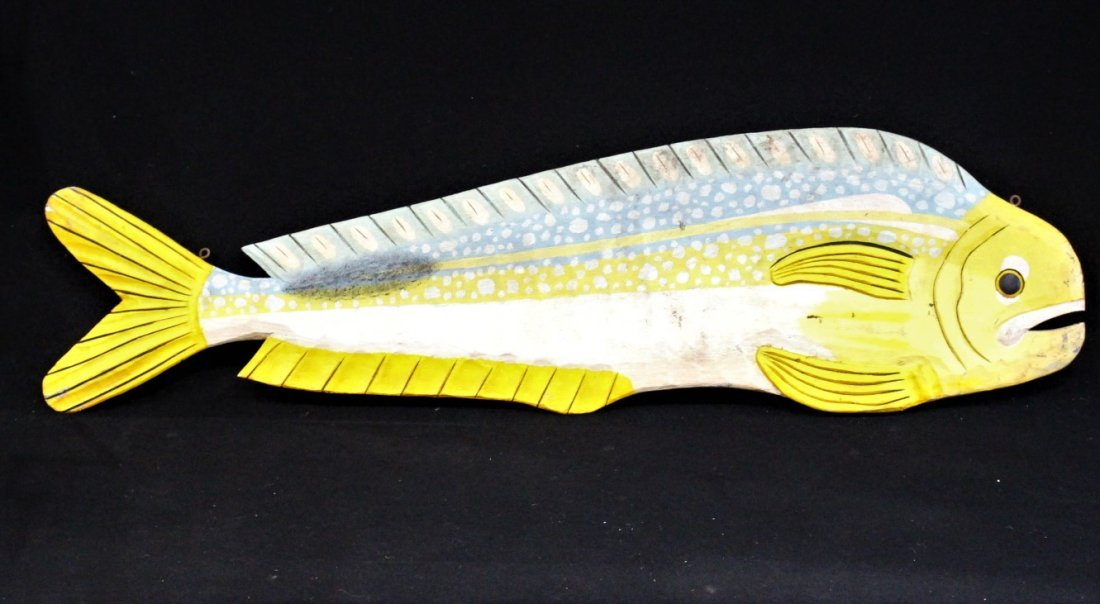 20th C. WOODEN 5 Ft. CARVED FISH TRADE SIGN - 2