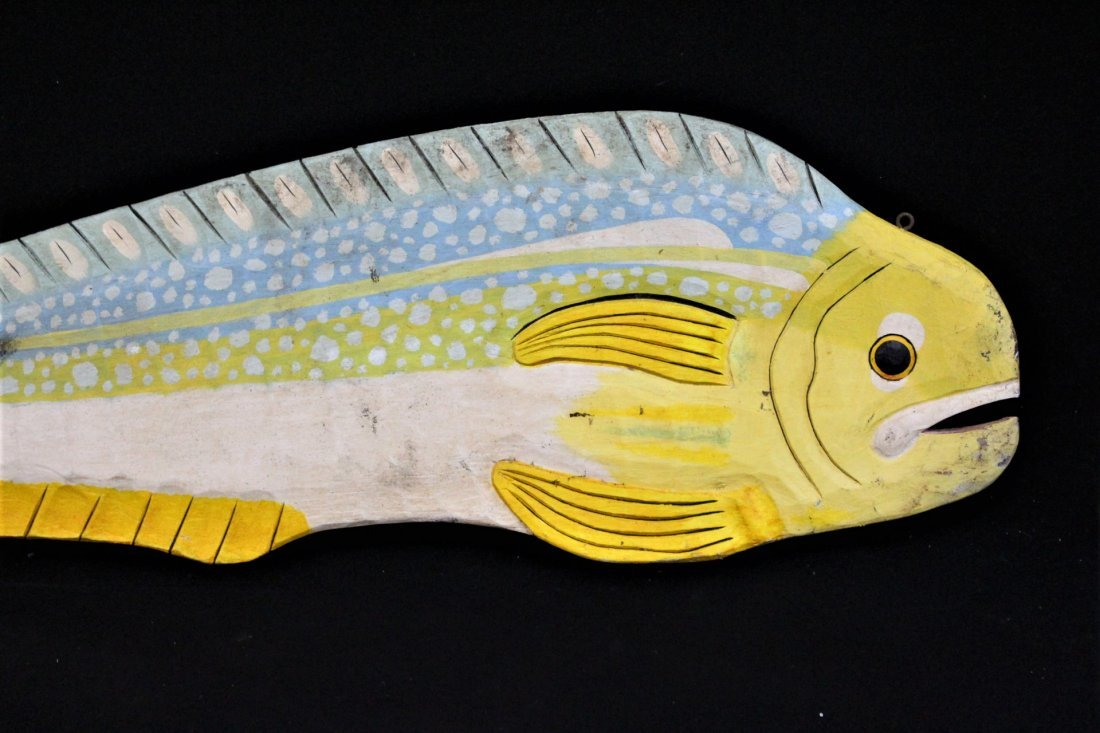 20th C. WOODEN 5 Ft. CARVED FISH TRADE SIGN - 3