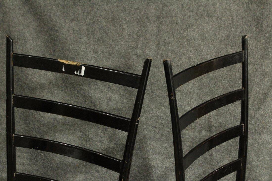 Six [6] ITALIAN GIO PONTI BLACK LADDER BACK CHAIRS - 5