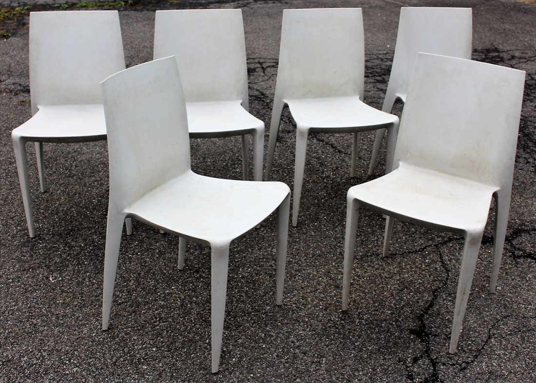 MARIO BELLINI For HELLER Six [6] Molded Chairs Signed
