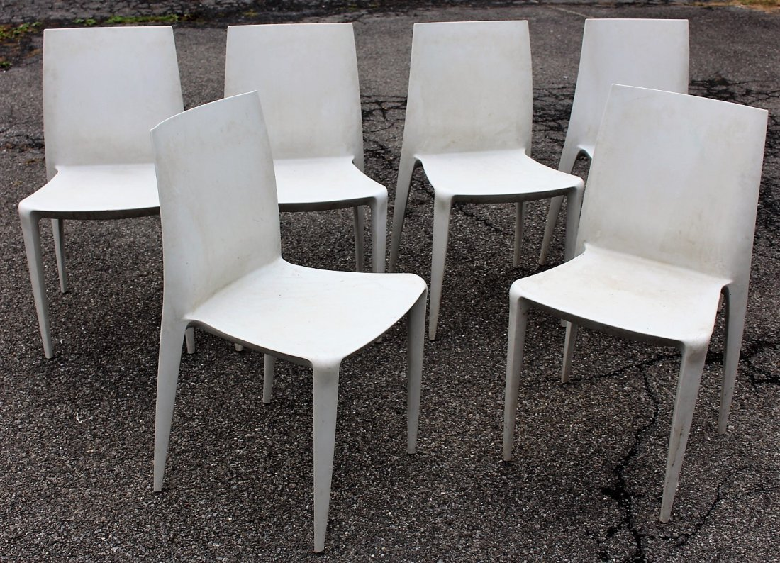 MARIO BELLINI For HELLER Six [6] Molded Chairs Signed - 2