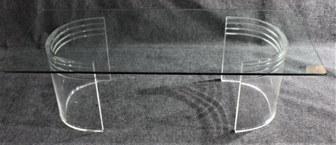 Mid-Century LUCITE BASE - RECT. GLASS TOP COFFEE TABLE