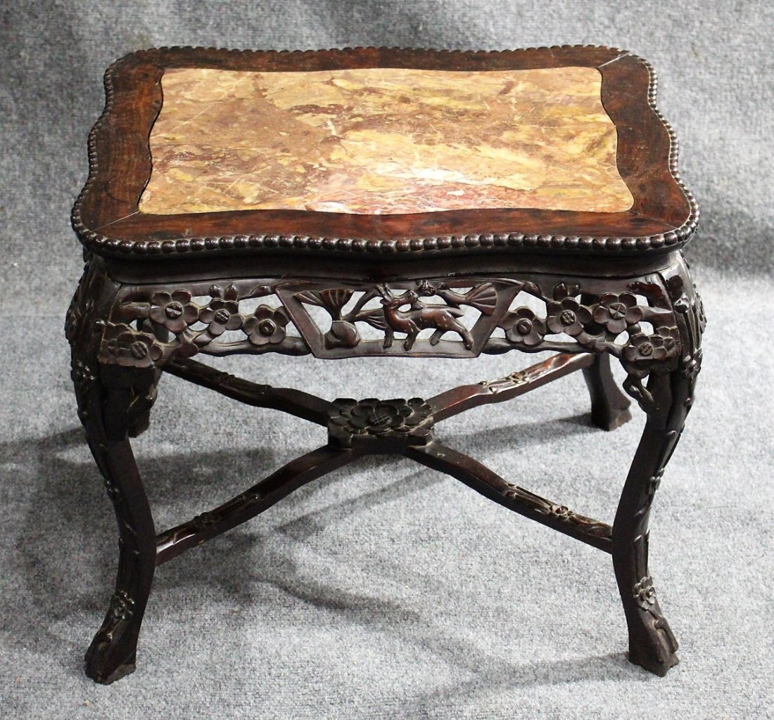 Antique CARVED CHINESE MARBLE TOP TEAK TABORET STAND