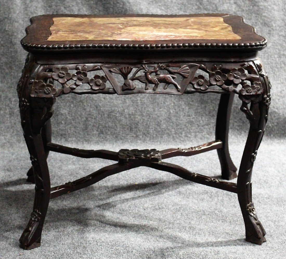 Antique CARVED CHINESE MARBLE TOP TEAK TABORET STAND - 2