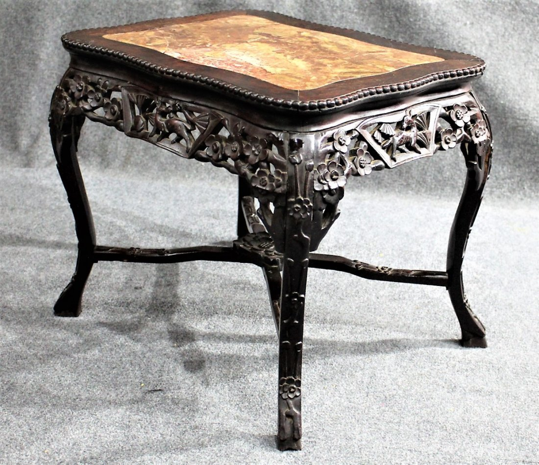 Antique CARVED CHINESE MARBLE TOP TEAK TABORET STAND - 4