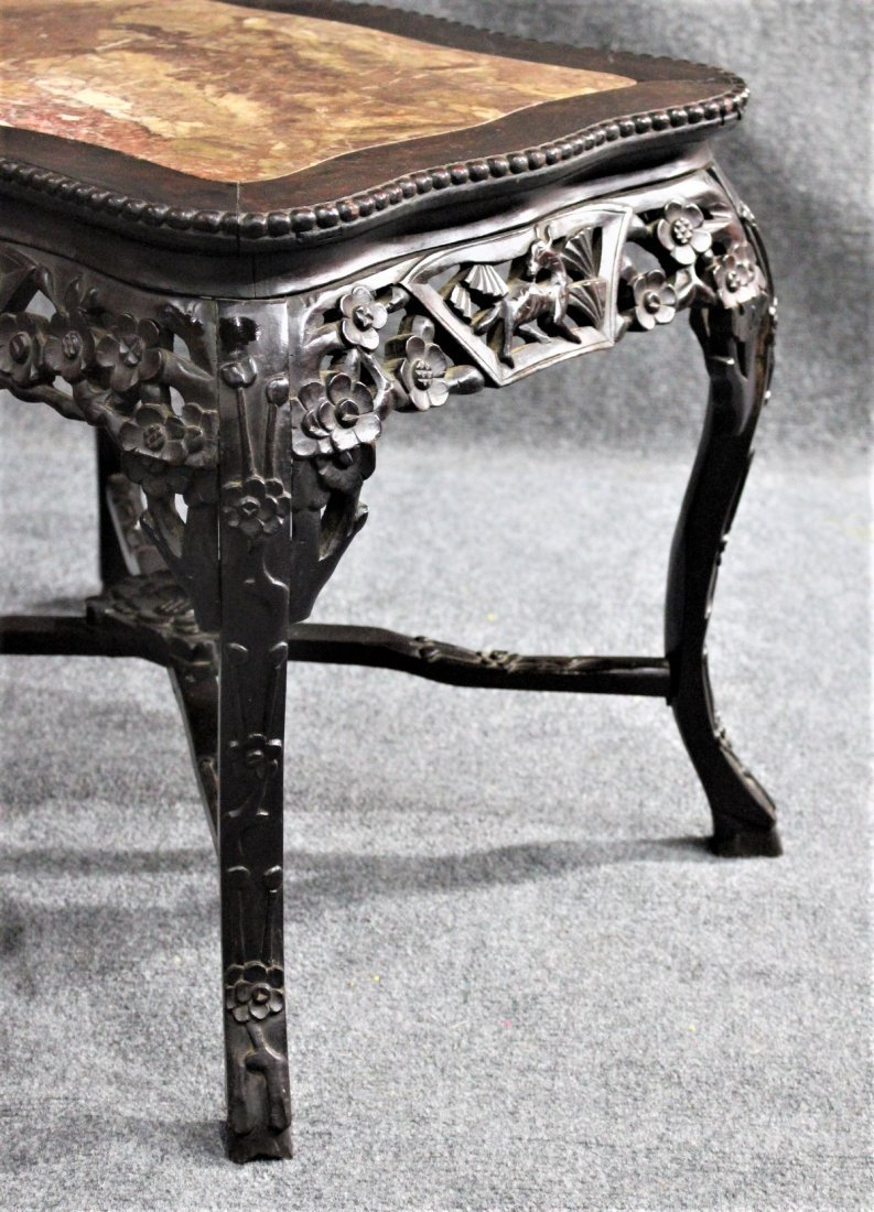 Antique CARVED CHINESE MARBLE TOP TEAK TABORET STAND - 5