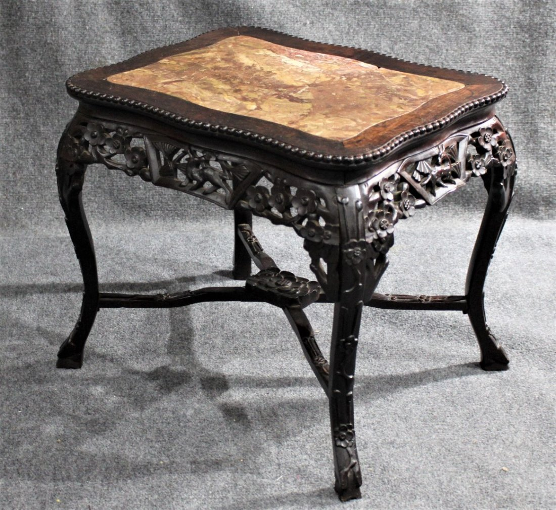Antique CARVED CHINESE MARBLE TOP TEAK TABORET STAND - 6