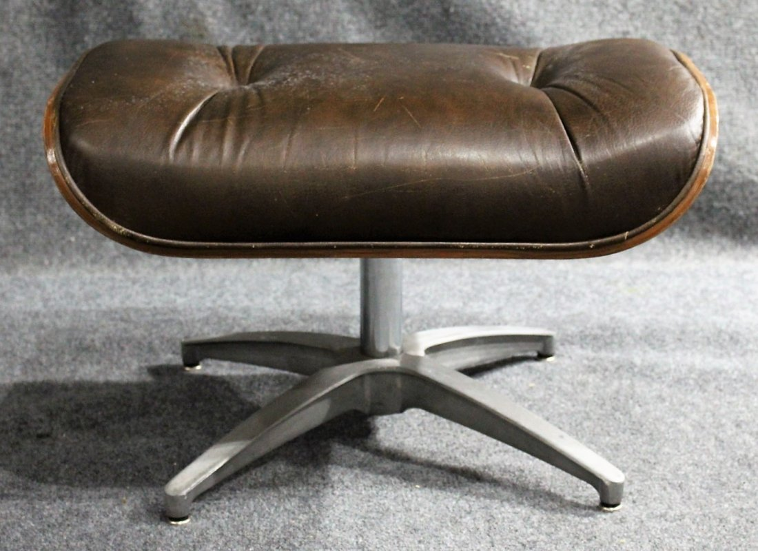 HERMAN MILLER - EAMES STYLE OTTOMAN BROWN LEATHER