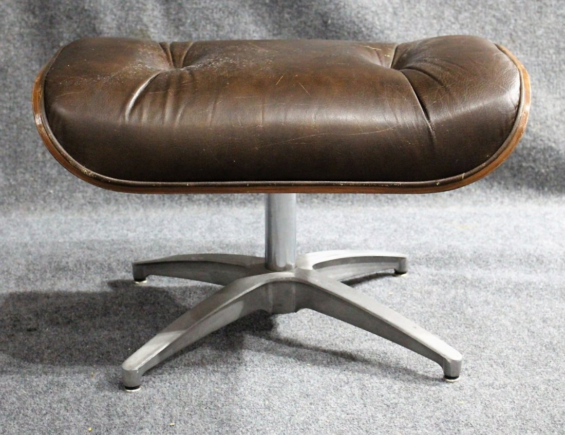 HERMAN MILLER - EAMES STYLE OTTOMAN BROWN LEATHER - 2